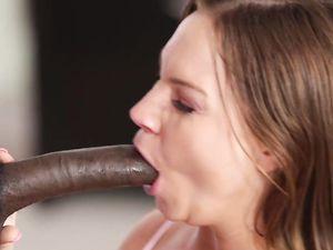 Deepthroating Babe Rides His Big Black Cock Lustily