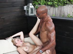 Ponytailed Babe Blows A Black Guy And Rides Him
