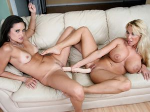 Enormous Dildo For Busty Lesbian Angels