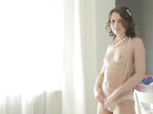 Pretty Russian Girl In Panties Sucks On Her Big Dildo