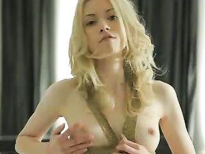 Lithe Blonde Teen Goddess In A Sensual Striptease