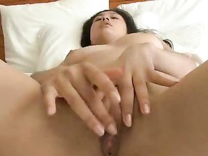 Asian Bra And Panty Babe Plays With Her Wet Pussy