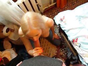 Topless Cocksucking Blonde Has Great Titties