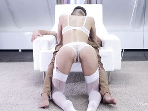 Erotic White Lingerie On A Cock Worshiping Teen