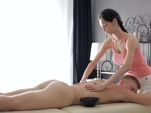 Big Tits Babe Massages And Pleases His Massive Cock
