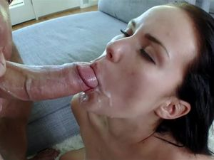 Petite Teen Sucks A Huge Cock And Gets Covered Up
